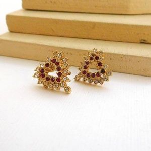 Jewelry - Simulated Ruby Rhinestone Heart Stud Earrings